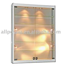 Wall mounted tempered glass aluminum profiles display showcase