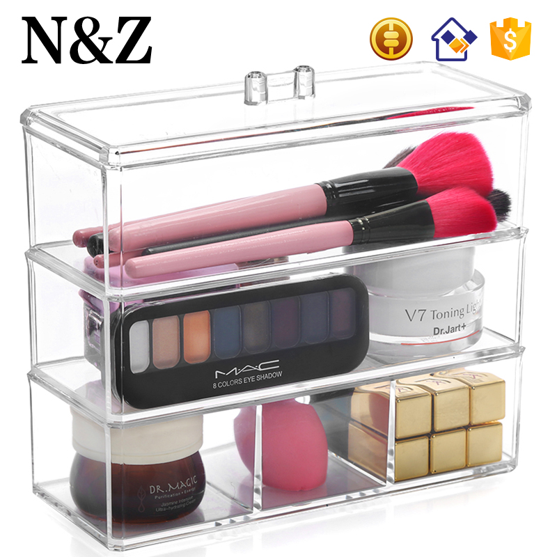 NZ C136 OEM Hot Selling 3 Tiers Plastic Cosmetic Organizer Acrylic Makeup Show Case