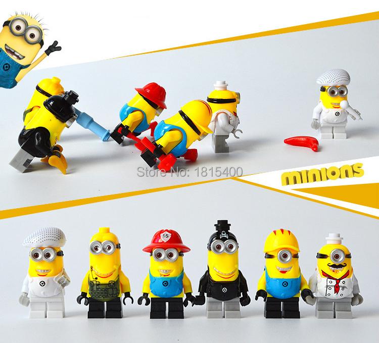 2015 Kids DIY Toys Anime Despcable Me Minion Mini Figures Plastic Building  Blocks Bricks Compatible With Lego Baby Toy 6pcs/lot