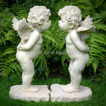 Bon Garden Cherub Decoration Fiberglass Winged Baby Boy Angel Statue With  Kissing