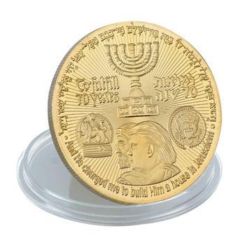 Trump Irrael Jerusalem House The Temple Coins,24k Gold Plated Wholesale  Custom Challenge Custom Coin - Buy Coins For Sale,Cheap Custom Challenge