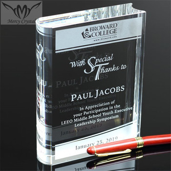Customized Engraved Crystal Book Award Trophy for Teacher Graduation Gifts