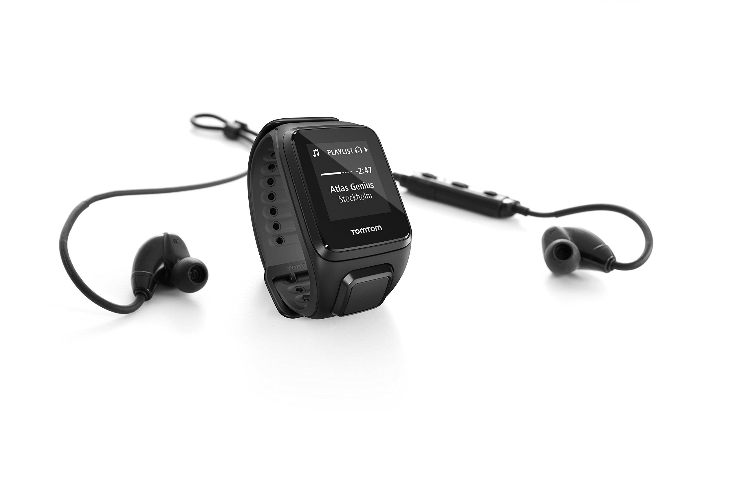 TomTom Spark Cardio + Music + Headphones, GPS Fitness Watch + Heart Rate Monitor + 3GB Music Storage + Bluetooth Headphones (Small, Black)