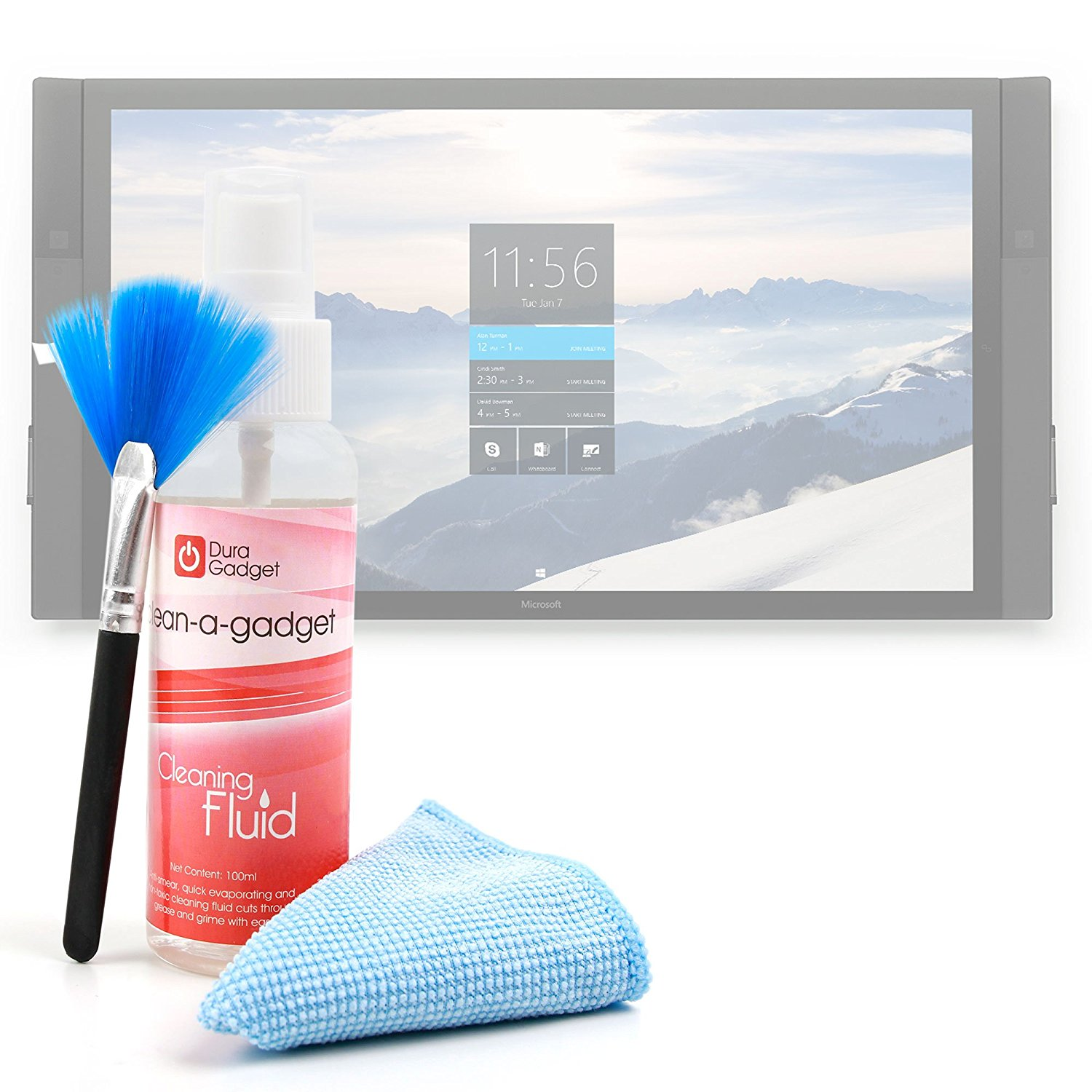 3-in-1 Multi-Purpose Cleaning Kit with Microfibre Cloth, Fluffy Brush and Non-Toxic Fluid for Acer Iconia One 10 B3-A20 Tablet - by DURAGADGET