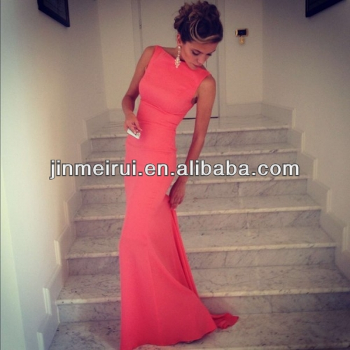 Free Shipping Best Selling Satin Sheath Formfitting High Neck Coral Mermaid Evening Dress Long Wedding Event Dress
