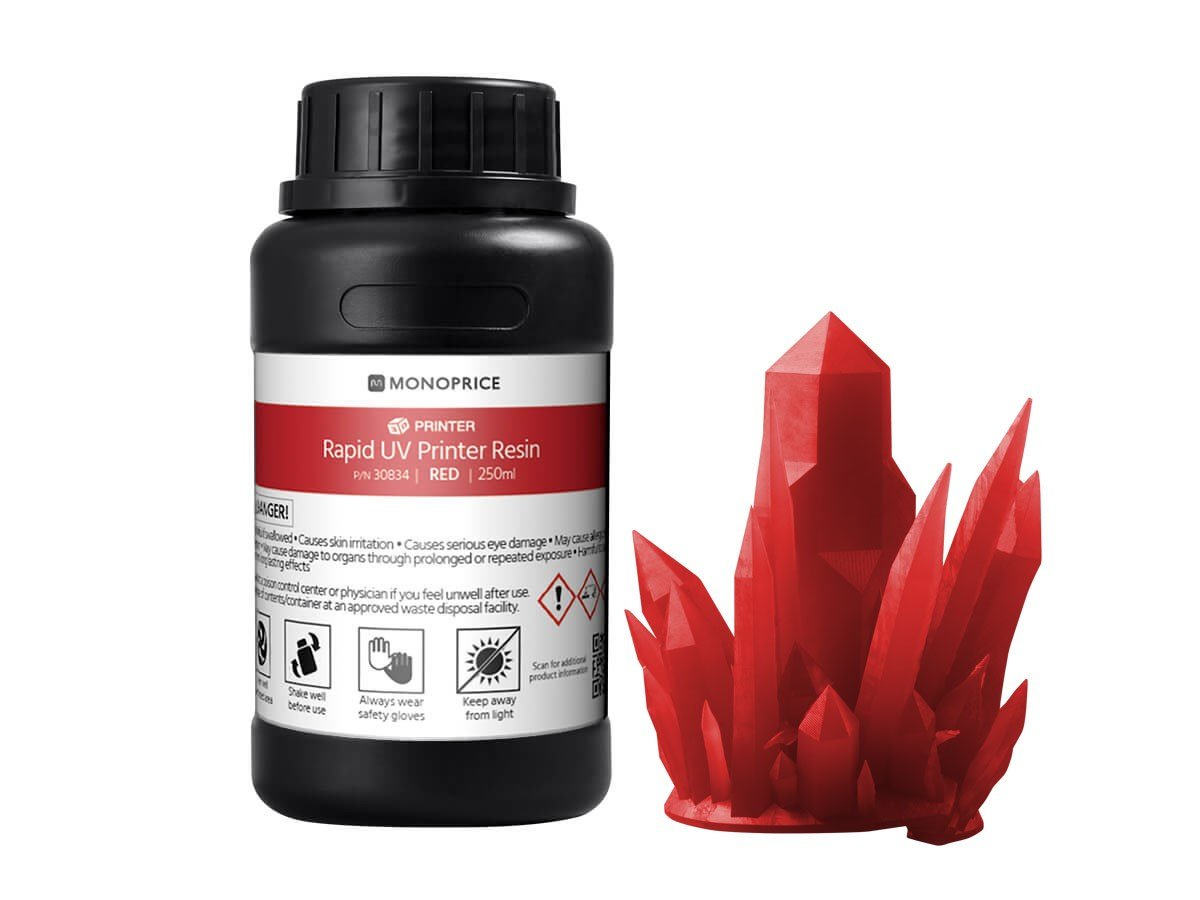 Monoprice Rapid UV 3D Printer Resin 250ml - Red | Coatible With All UV Resin Printers DLP, Laser, or LCD