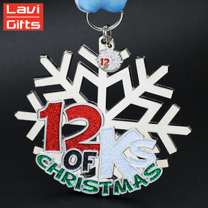 Hot Sale Custom Metal Silver Powder Snowflake Medal