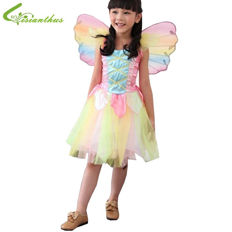 Girls Halloween Costumes Rainbow Angel font b Dress b font Cosplay Stage Wear Clothing Sets Kids