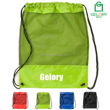 Promotion 210D Polyester fabric Mesh Panel printed gym bag drawstring