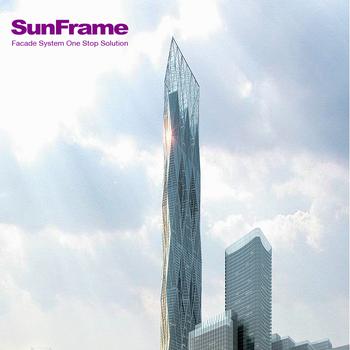 Sun Frame Steel Curtain Wall Cost Per Square Metre Custom Curtain ...