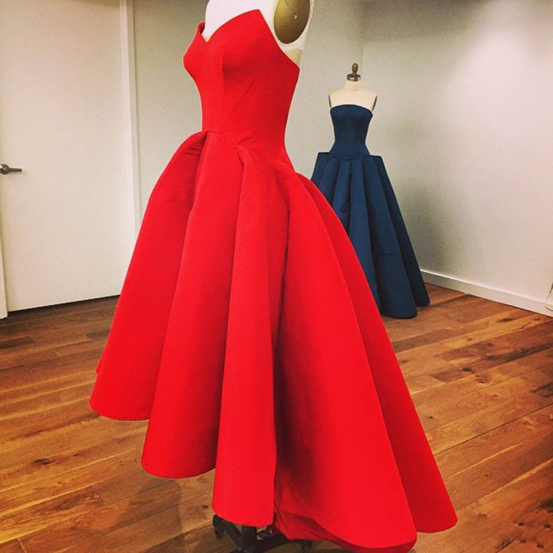 World Of Architecture 16 Simple Elegant And Affordable: 2016 High Low Red Prom Dresses Sexy Strapless Cheap Satin