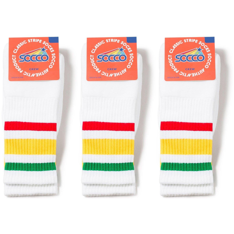 9e205d60a18ac Get Quotations · Socco Socks Unisex White Triple Striped Rasta Green/Yellow  / Red Crew Tube Socks Bundle