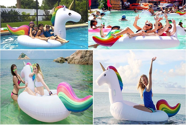 Cheap inflatable toys pool lounge float giant unicorn for Cheap inflatable pool
