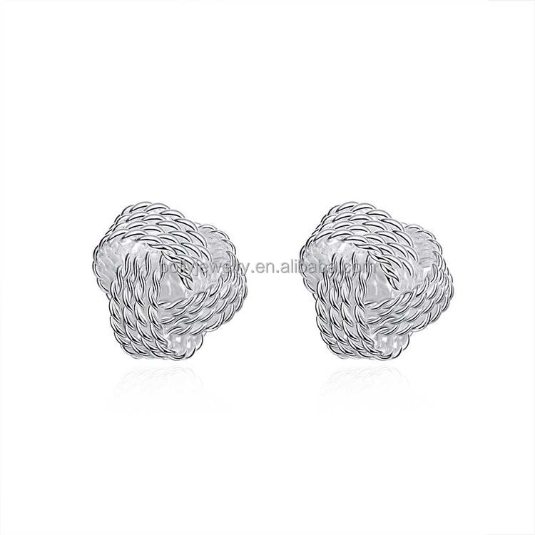 Elegant Fashion Women Lady Silver Plated Twisted Ball Knotted Stud Earrings