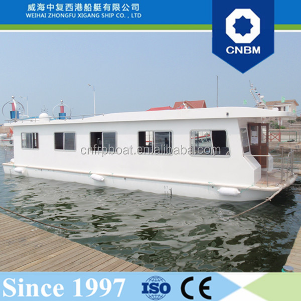 13.98m China Factory Fiberglass Hull Passenger Ferry Solar House Boat with Prices