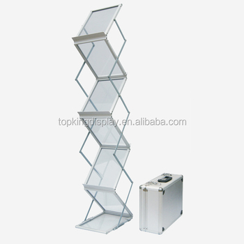 A3 A4 Portable Acrylic Wooden Zigzag Folding Brochure Stand