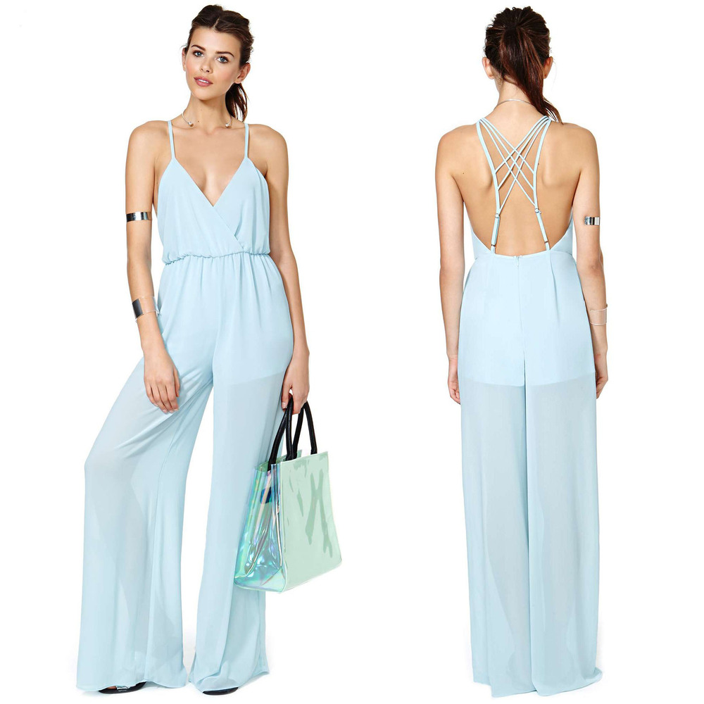 11afac1a967 Get Quotations · Deep V back cross ribbon back invisible zipper long  Chiffon pants solid formal women jumpsuits Rompers