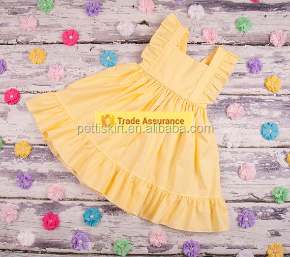 Baby girl party dress children smocked designs baby plain yellow cotton dress