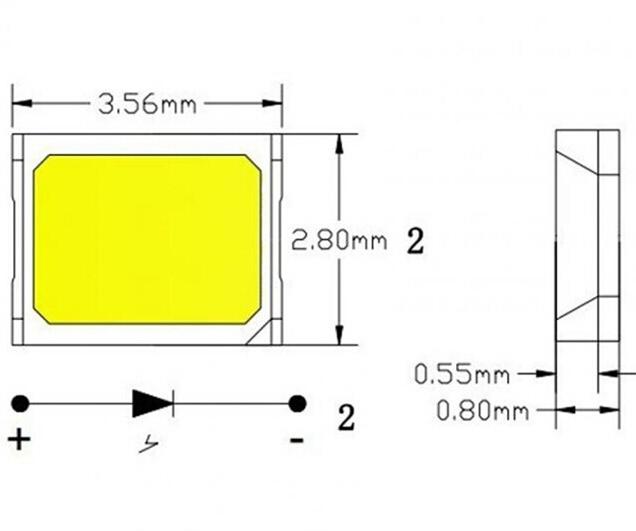 1W High Power 2835 SMD LED Chip 3000K Warm White 9.2V 100mA LED SMD Emitter BXEN-30E-13H-9B-00-0-0