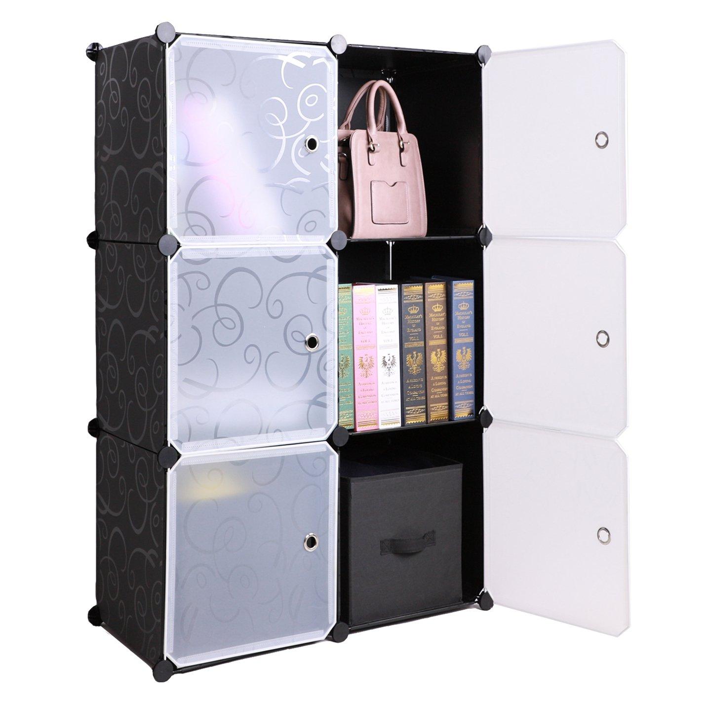 BASTUO 6-Cube DIY Storage Cube Organizer 3-Tier Storage Cube Cabinet Bookcase Shelves Organizer Closet with Door