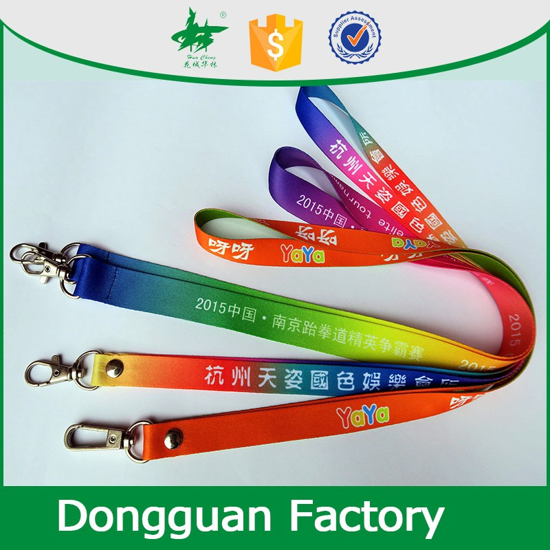 colorful polyester neck lanyard with metal thumb trigger hook