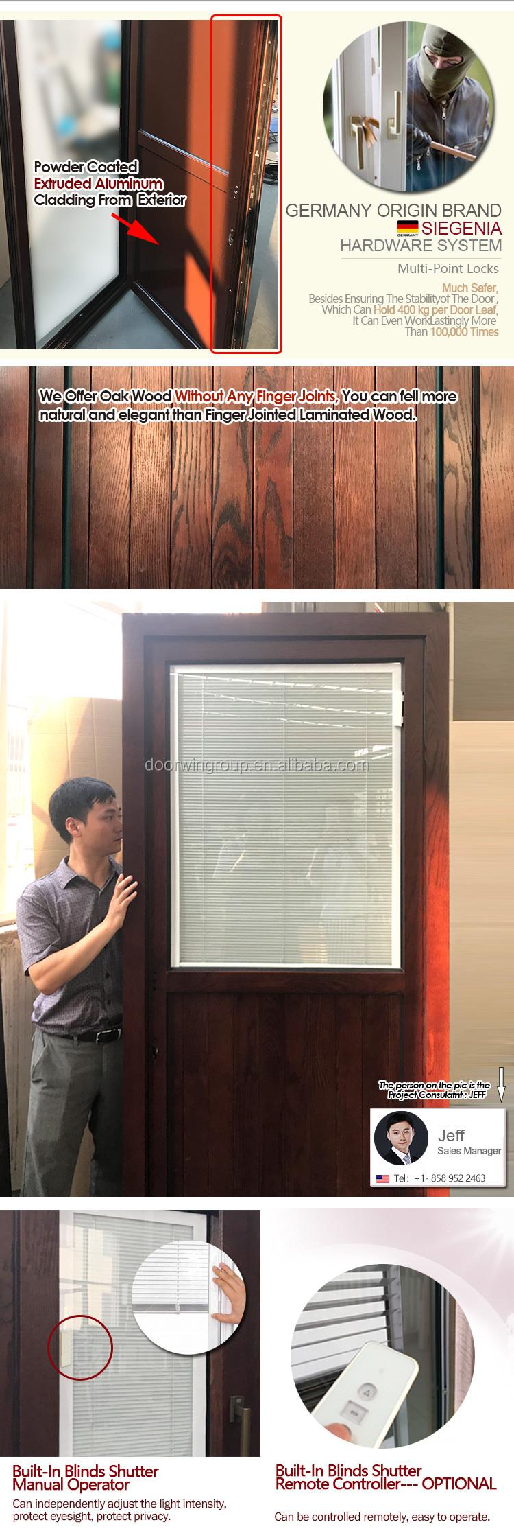 Solid Oak Wood Front Entrance Door With Built In Blinds Buy Solid Wood Front Door Designs Door Product On Alibaba Com