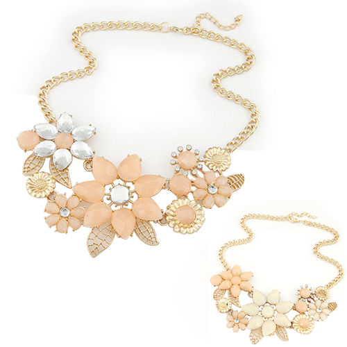 2015 new fashionable bright flower necklace charm rhinestone necklace and pendant gift