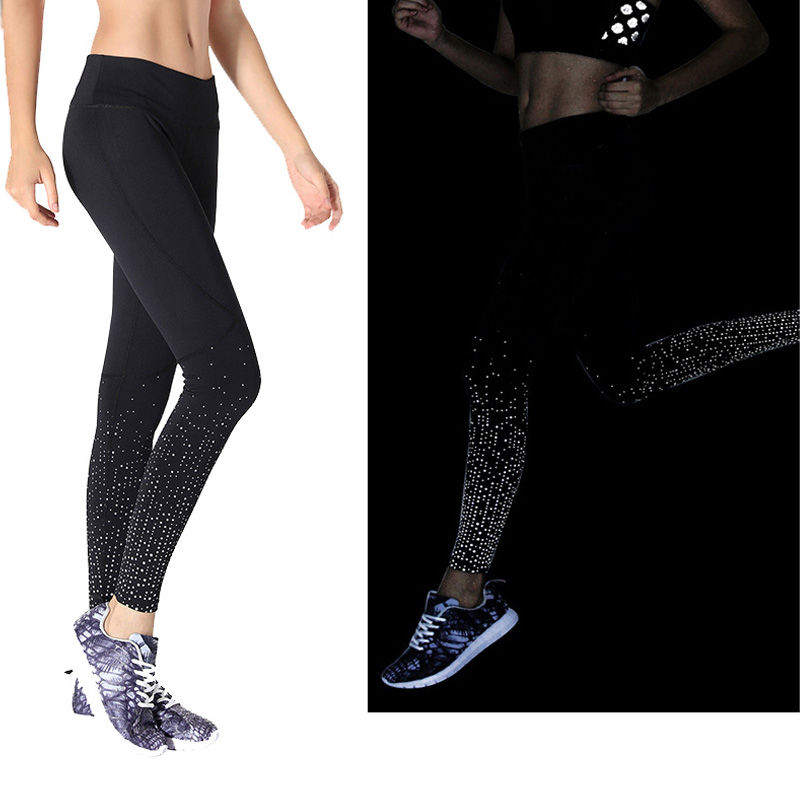 oem custom reflective printed soft comfort compression high stretchy elastic leggings yoga activewear for women fitness