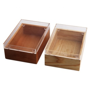 Small Size 2 Layer Wood Storage Box with Acrylic Tray Perfect Way to Keep Your Stuff Organized