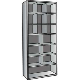 "Hallowell A5533-24-HG Hi-Tech Closed Metal Bin Shelving, Adder Type, (9) 12"" x 12"", (6) 18"" x 12"", (1) 36"" x 12"" Opening Size, 24"" Shelf Depth, Hallowell Gray"