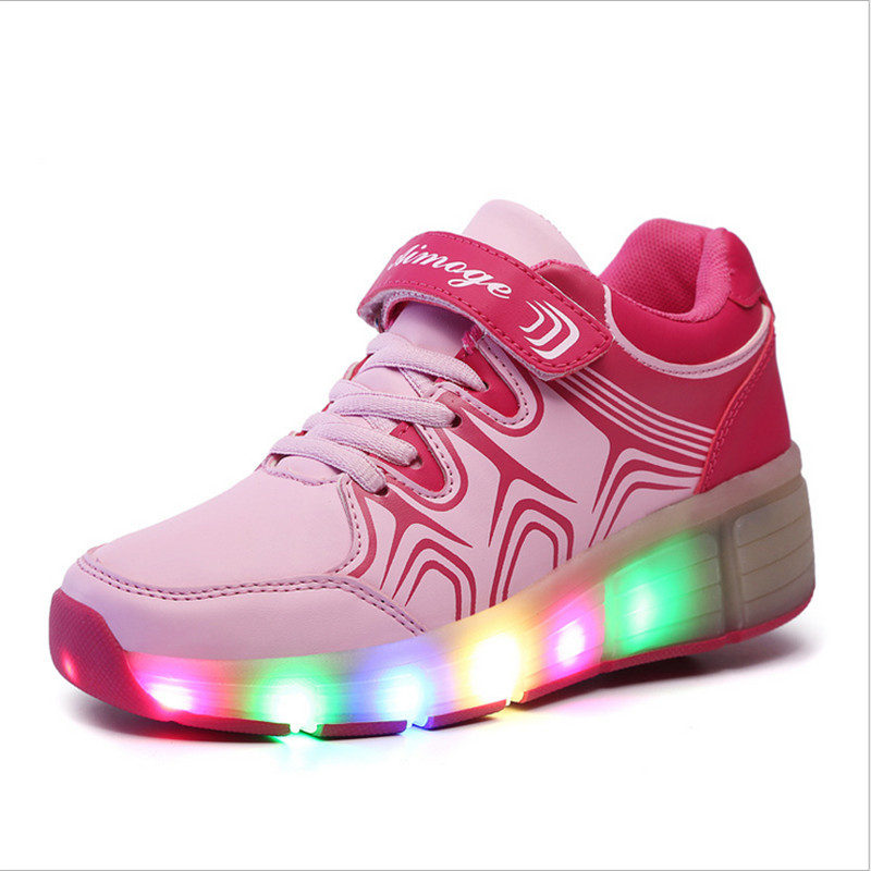 Heelys Children Roller Shoes Boy Girl Automatic LED Lighted Flashing Roller Skates Kids Fashion Sneakers With