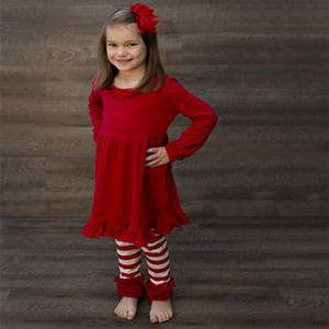 Factory price girls boutique clothing smocked top red stripe ruffle pants baby clothes wholesale boutique girls fall outfits