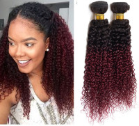 Fusion Ombre Color Hair Extensions Black and Wine Red Brazilian Deep Curly Hair Weave