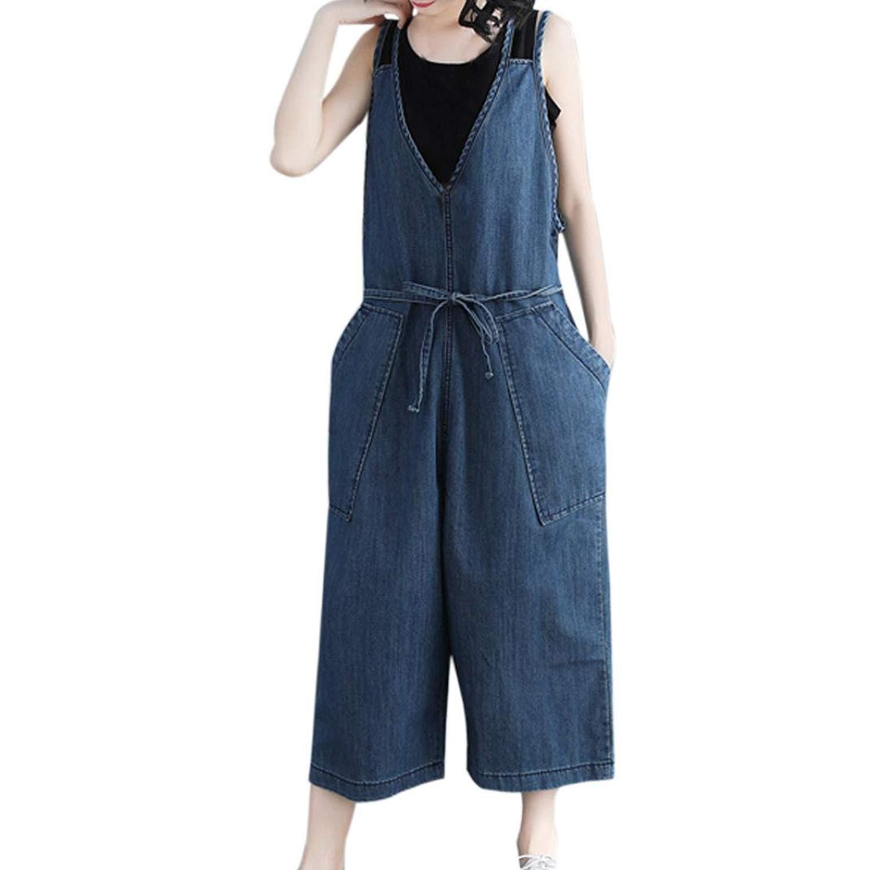 fe0cf5a919635 Get Quotations · Alixyz Women Denim Jumpsuit Casual Loose Harem Pants Strap  Trousers Overalls Harem Pant