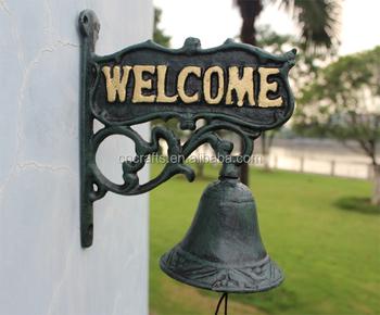 Cast Iron Outdoor Door Bell Metal Wall Mounted Hanging Garden Doorbell Ornament