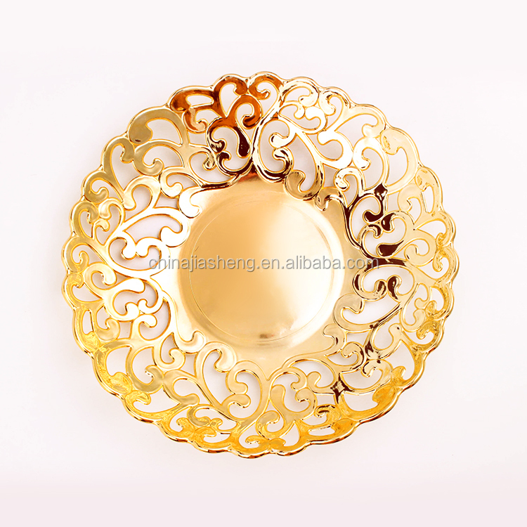 plastic fruit tray household gilt/gild gold plated salver food charger dish hollow out plate