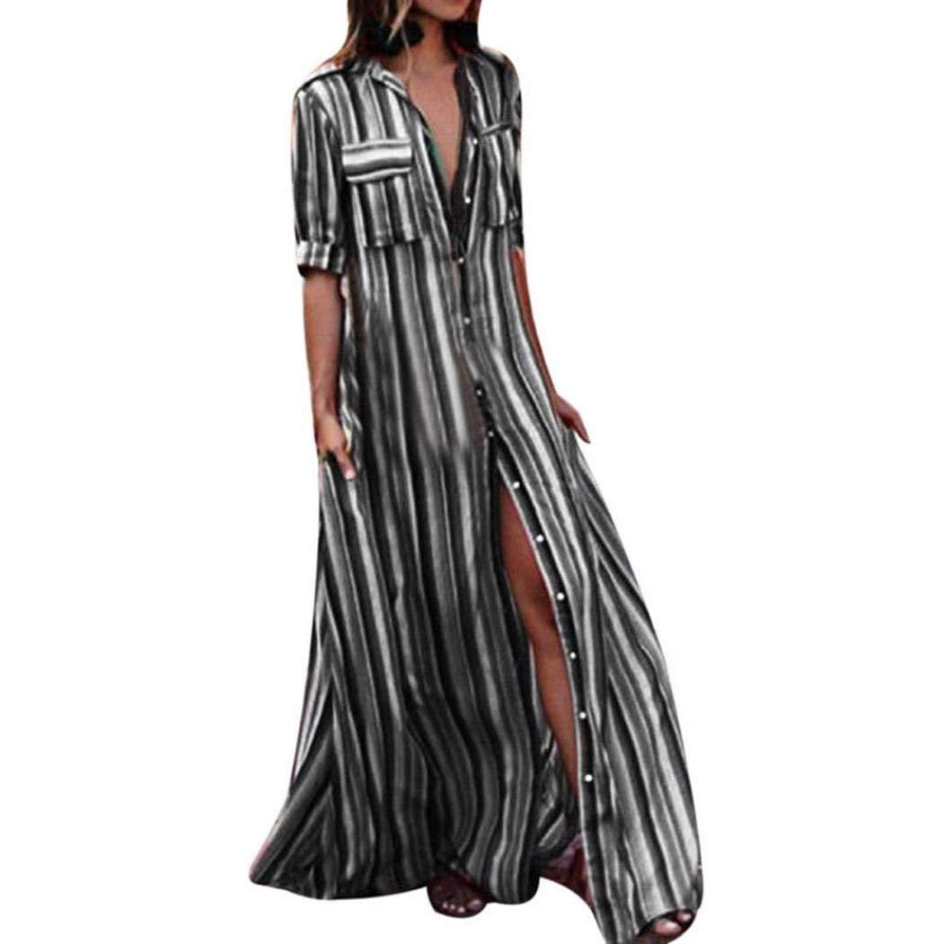 7d815a10a8 Get Quotations · Hmlai Clearance Rainbow Shirt Dress, Women Stripe Half  Sleeve Button Down Loose Long Maxi Sundress
