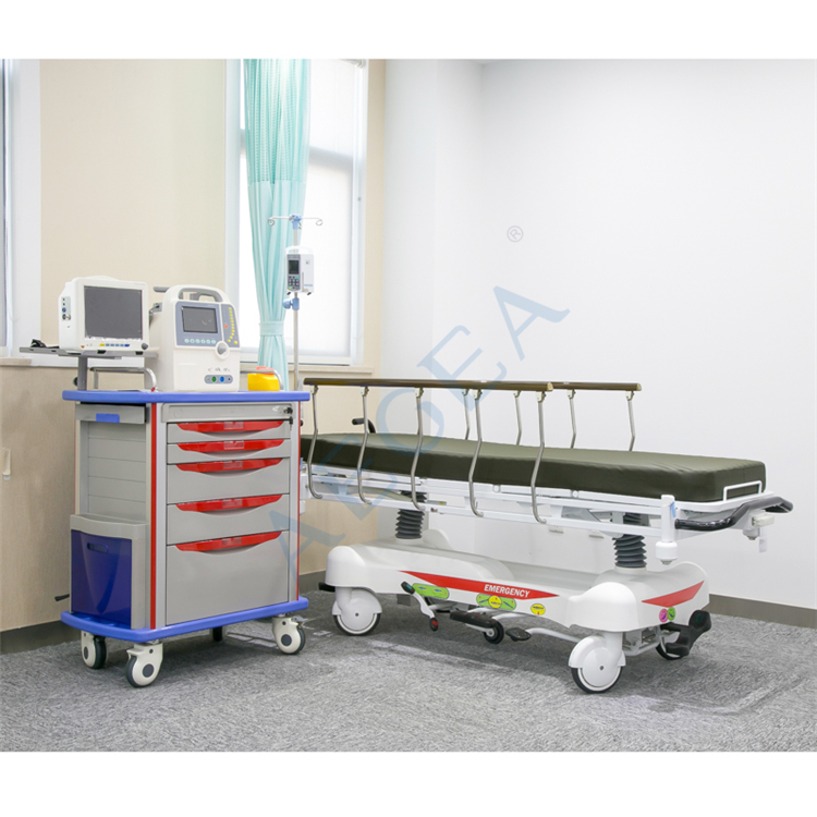 Basic hospital emergency icu room used essential patient therapy ambulance stretcher bed