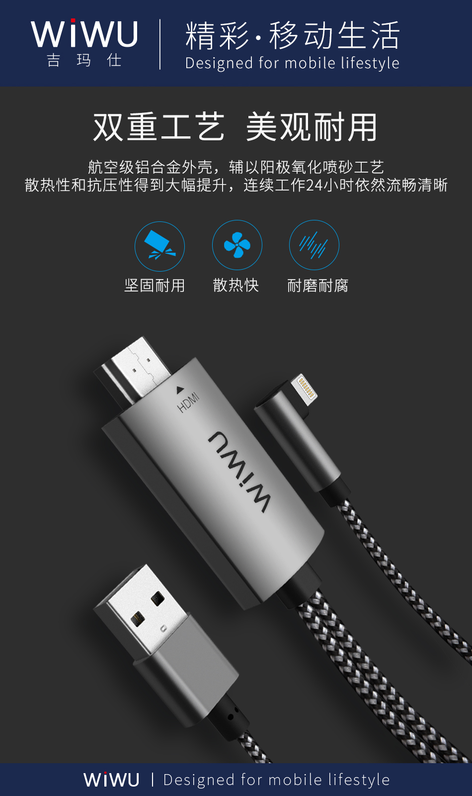 WIWU Flexibility Plug & Play 1080p Light ning to HD MI TV AV 2M Cable Adapter Compatible with Mac OS,Window7,Window10,Linux