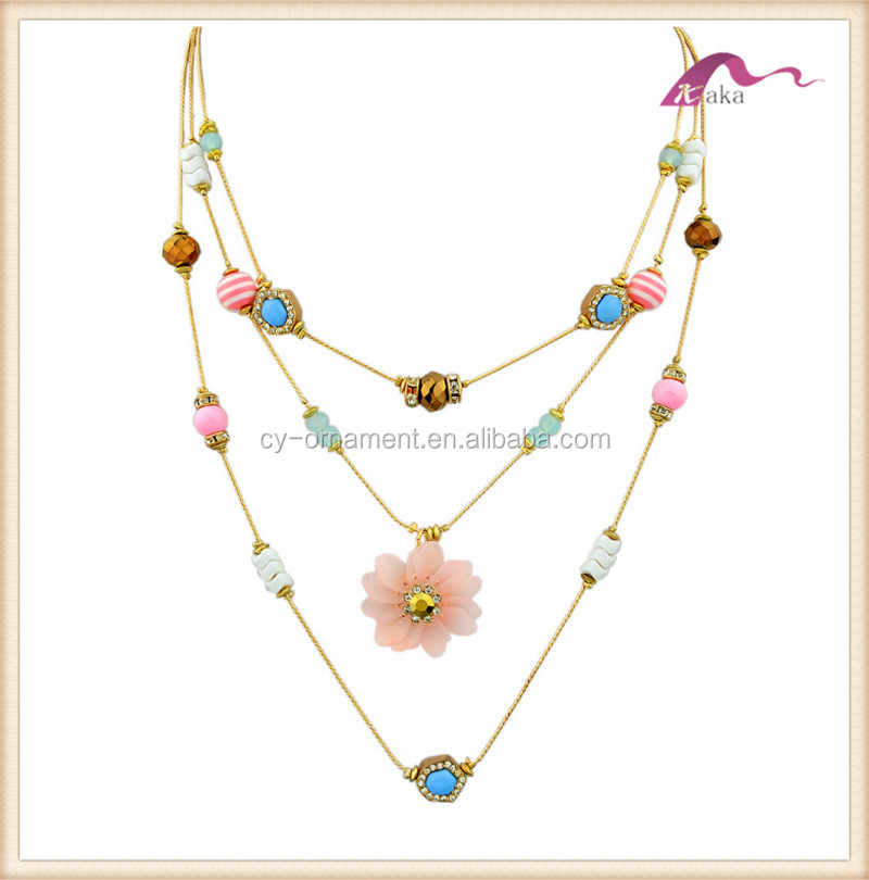 Cute Flower Rhinestone Necklace Pendant Natural Stone Necklace for Girl Children