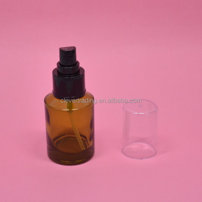 custom made 30ml square dark green glass perfume bottle with pump spray essential oil bottle