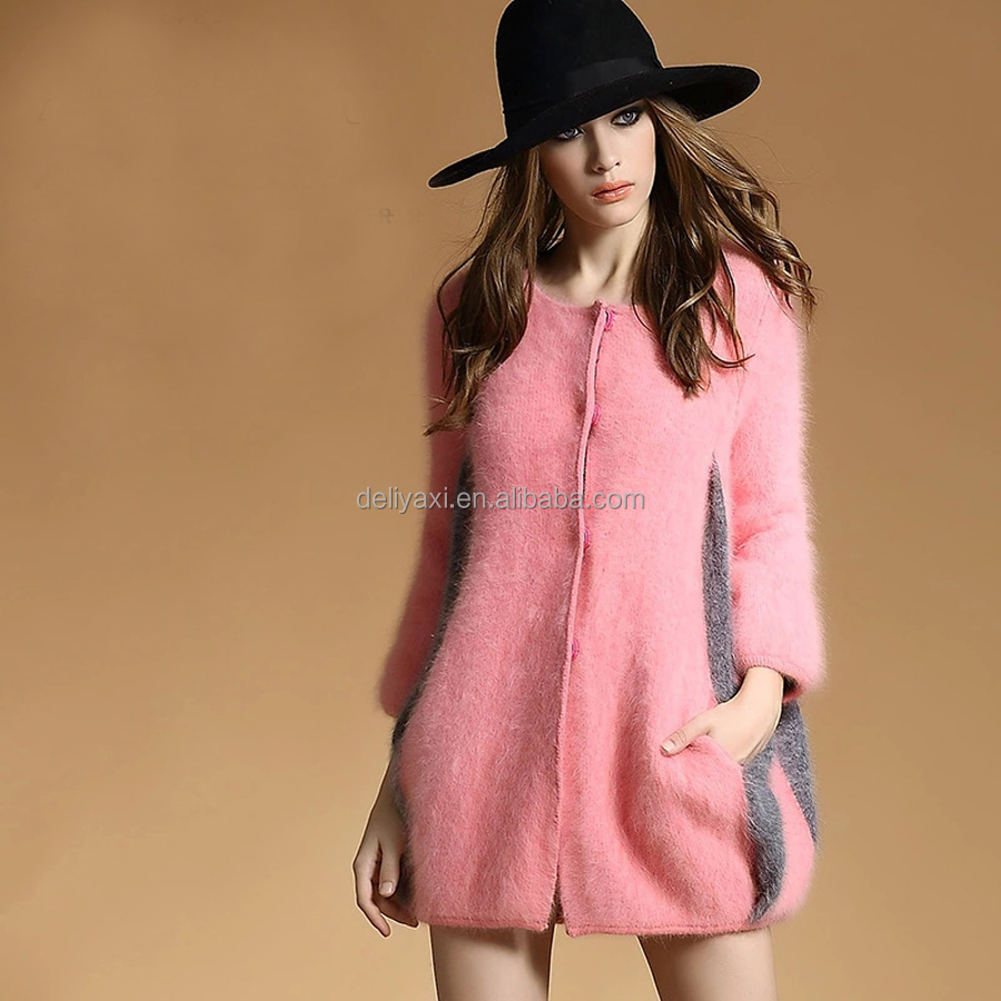 mink cashmere contract color overcoat with linging women winter outwear jackets pockets cardigan thick big coat