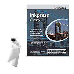 "Inkpress Glossy, Single Sided Gloss Surface Inkjet Paper, 240gsm, 10.4 mil., 17""x100' Roll"