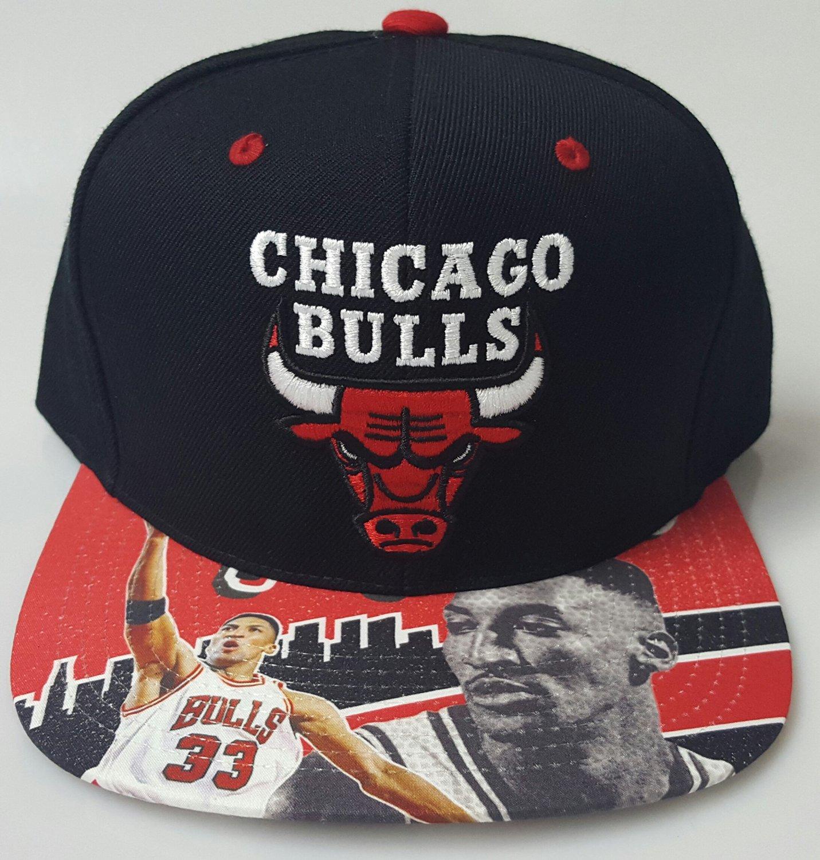d30e85f9300 NBA Black Chicago Bulls Flat bill snap back cap