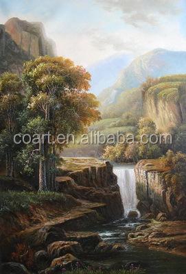 Modern Wall Art Waterfall Chinese Landscape Oil Painting Wallpaper