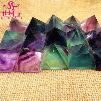 Wholesale natural rainbow fluorite quartz crystal orgone pyramid for paperweight