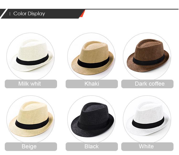 Toptan üretici düz renk Caz şapka siyah saten kurdele ile destek oem özelleştirilmiş tasarım hasır panama şapka
