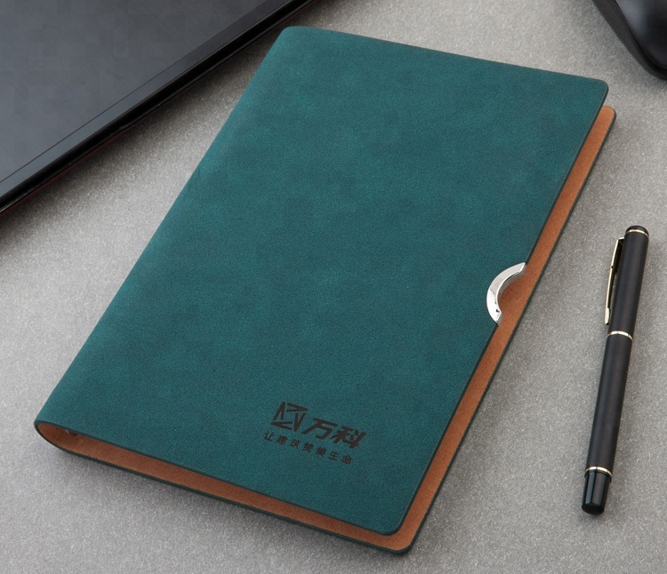 Customized A5 business Organize metal tags logo Soft Cover Leather card pocket Planner diary Notebook with Pen