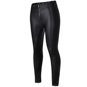 Women's Wear for Fall 2018 Sexy Zipper Casual Leather Pants