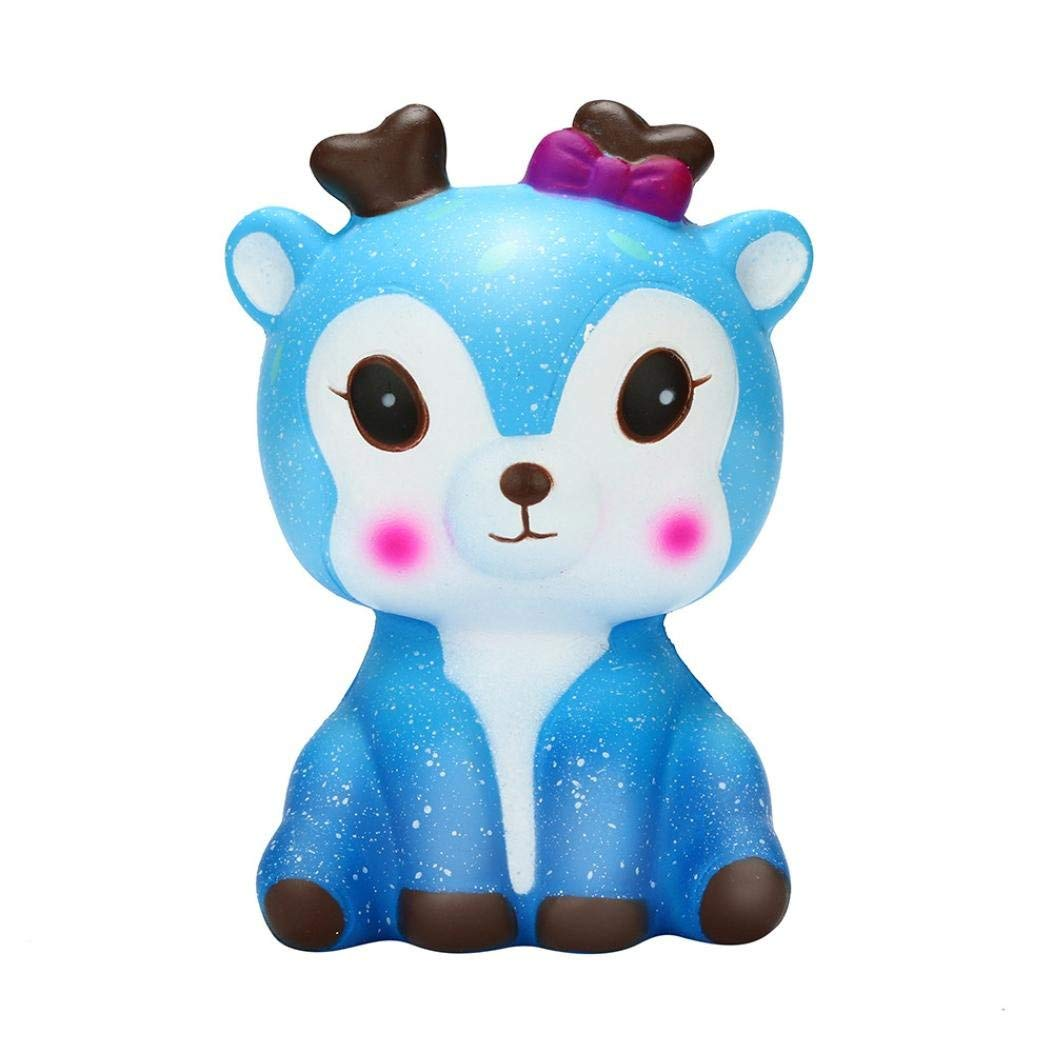 Staron® Squishy Toys for Kids, Jumbo Galaxy Deer Squishies Kawaii Icecream Bread Slow Rising Cute Deer Cream Scent for Kids Party Toys Stress Reliever Toy (A)